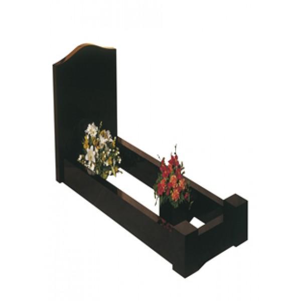 EC100 Black Granite Headstone and Kerb Memorial with Vase