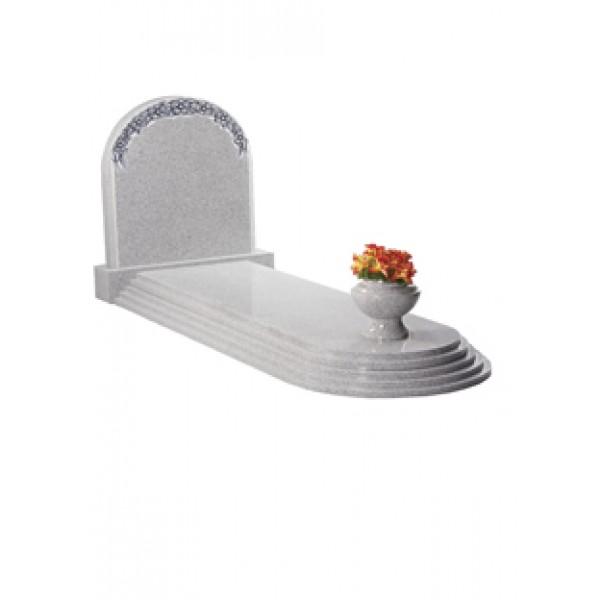 EC109 Light Grey Granite Headstone and Steps Memorial with Vase