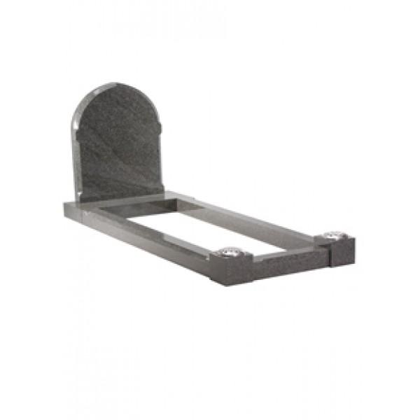 EC110 Grey Granite Traditional Headstone and Kerb Memorial