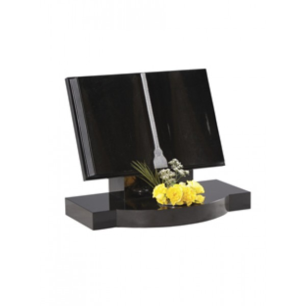 EC132  Black Granite classic bookset with added sandblast page lines