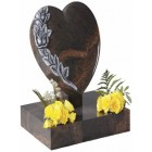 EC151 Aurora Granite heart rest and base with an exclusive design of hand carved roses.