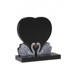 EC159  Black Granite headstone with design of two swans together throughout life.