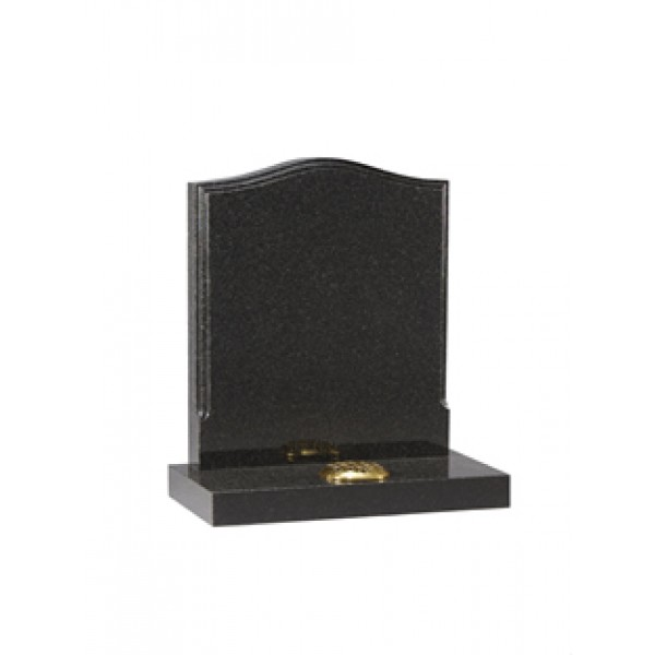 EC16 Dark Grey Granite headstone with a polished moulding.