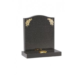 EC19 Dark Grey Granite ogee headstone, the rose design at the shoulder highlighted with pure gold leaf.